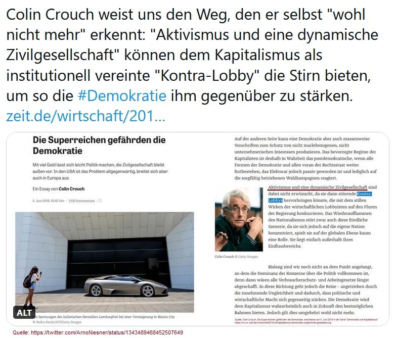2020-12-28_Arno-Niesner_Colin-Crouch-Tweet_Die-Superreichen-gefaehrden-die-Demokratie_Kontra-Lobbys